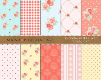 Digital Paper 'Shabby Chic' Vintage Floral Style, Roses, Gingham, Dots, Damask for Invites, Decoupage, Crafts...