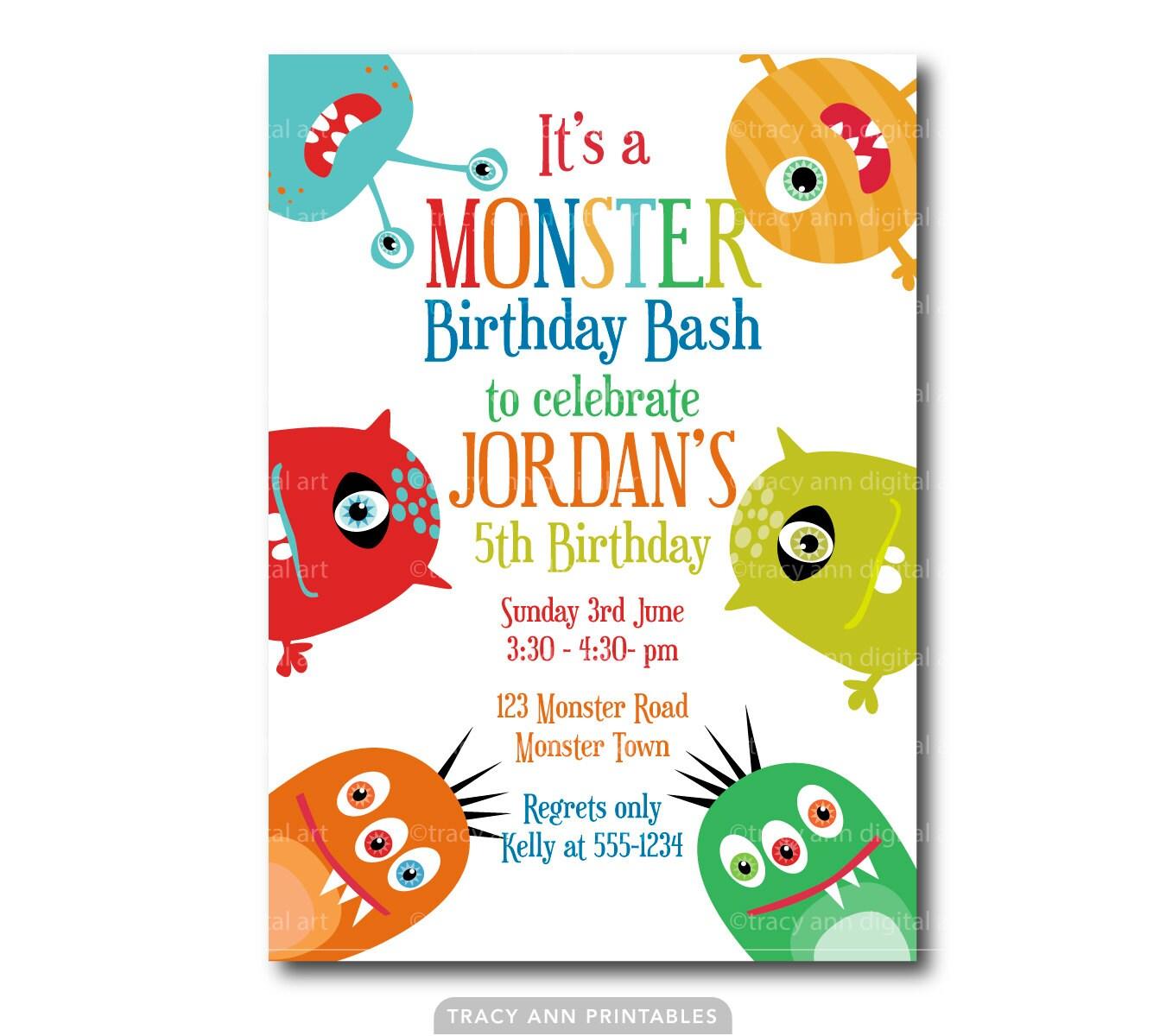 Monster Invitation 1st Birthday Monster Invitation Monster