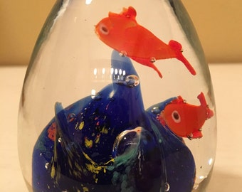 Vintage Art Glass - Goldfish in Egg Shaped Paperweight -Cobalt Blue Waves