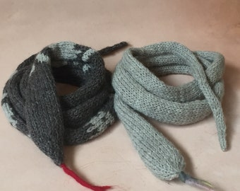 Hand Knit  Snake or Worm Scarves