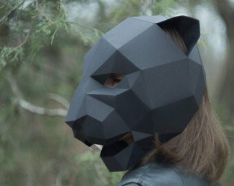 Panther Mask,Cat Mask,DIY 3D mask,PDF,Polygon Paper Mask,Template,Printable,Animal,Pattern mask,Low Poly,Papercraft Mask,Costume,Party,Gift
