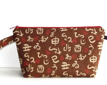 Wedge Bag, Shawl Project Size Knitting Bag, Imported Japanese fabric, brown and red