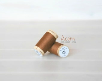Organic Cotton Thread GOTS - 300 Yards Wooden Spool  - Thread Color Acorn - No. 4827 - Eco Friendly Thread - 100% Organic Cotton Thread