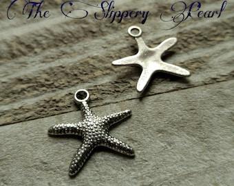 Starfish Charms Starfish Pendants Silver Starfish Charms Antiqued Silver Charms Nautical Charms Ocean Charms Sea Life Charms 10 pieces