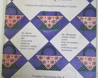 """Vintage Craft Booklet of """" Flower Quilts from gramother's Garden'""""   How to booklet    used 23 pages"""