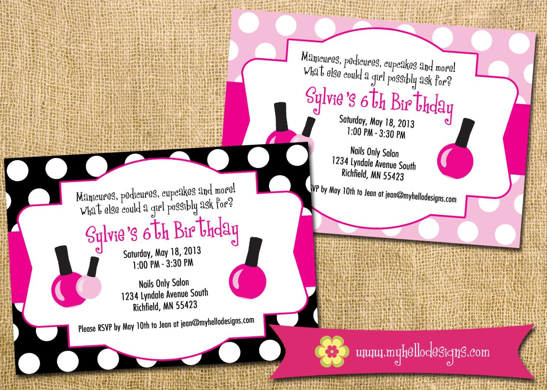 Printable Spa Party Invitation DIY invite spa manicure