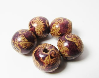 D-01908 - 5 printed Woodbeads