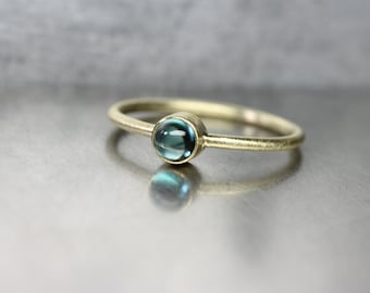 Indicolite Tourmaline 18K Yellow Gold Ring Stackable Modern Delicate Green-Blue Teal Color Brazilian Gemstone Round Cabochon - Ocean Driblet