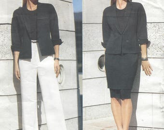 Anne Klein Womens Above Hip Jacket, Skirt & Straight Legged Pants Vogue Sewing Pattern 2390 Size 6 8 10 Bust 30 1/2 to 32 1/2 FF