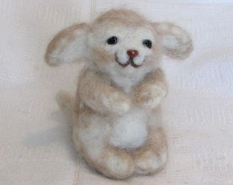 Fennec Fox  Beige, Alpaca Needle Felted