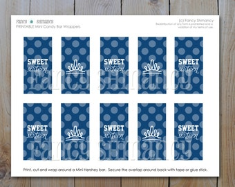 Sweet 16 Candy Bar Wrappers / DIY Party Favors / Navy Blue Sweet 16 / Instant Download / PRINTABLE / 5117