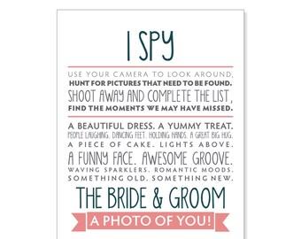Printable Wedding Reception I Spy Game - 4.25 x 5.5 Wedding Reception Sign - Digital Download - Printable (DIY)