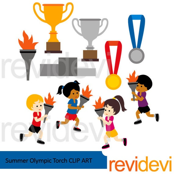 summer olympic torch clipart kids running medals trophy rh etsy com olympic torch image clipart olympic torch image clipart