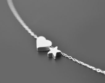 Silver Tiny Heart star necklace, Silver necklace, Simple necklace, Graduate gift, Christmas gift, Delicate necklace,Valentines gift