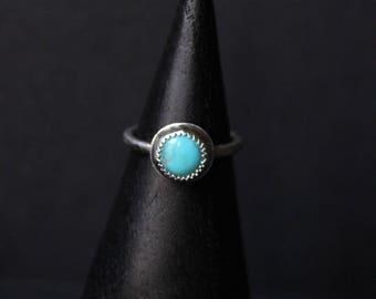 Kingman Turquoise Sterling Silver Stacking Ring | Arizona Mine | December Birthstone | Gugma Women's Minimalist