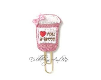 Pink Latte Planner Clip, Love You A Latte Paper Clip, Glitter Paper Clip, Accessory For Planners, Organizer Clip, Stationary, Bookmark Clip