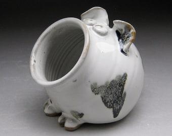 Ceramic Salt Pig - Pig Jar - Salt Cellar - White with Black Spots & Salt cellar | Etsy