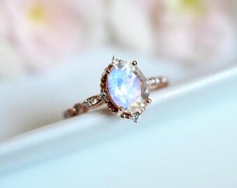 Moonstone Engagement Ring Rose Gold Blue Moonstone Engagement Ring Platinum White Gold Moonstone Wedding Ring Antique Vintage Moonstone Ring