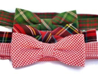 Boy's Christmas Bow Ties, Toddler Ties, Holiday Bowties, Plaid Bow Ties