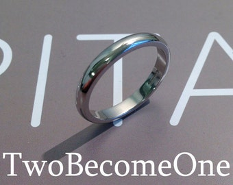 3mm Ladies Platinum D Shape Handmade Wedding Ring / Band / 4.6g