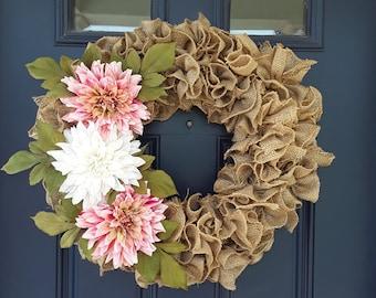 Burlap Wreath on Grapevine frame