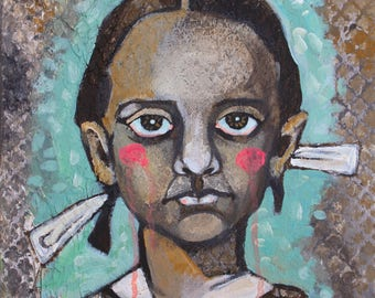 Portrait of an Ancient Child with Lover's Eye // Vintage Girl // 16x20 // original painting