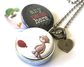 Custom Girl's Locket - Custom Boy's Locket - monkey turtle duck magnetic, daughter gift, upcyled, silver steel locket, allartsy and polarity