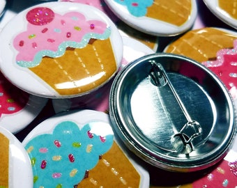 """Cupcake pins buttons for candy land sugar shoppe sweet treats birthday party favors Two dimensional with glitter 1.5"""" Valentine's Day favors"""
