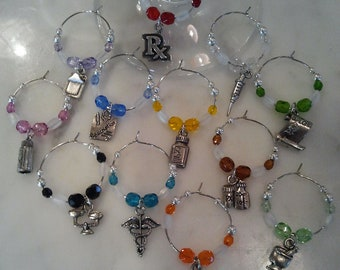 Pharmacy Pharmacist Wine Charms  set of 12