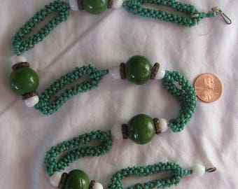 """Magnificent Antique Hand Beaded 22"""" Necklace, Turquoise Green Seed Beads, Large Brass Capped Milk Glass Beads & BIG Olive Green Glass Beads"""