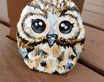 Painted owl rocks, hand painted rock, hand painted stone, hand painted rocks, owl, painted owl, rock art
