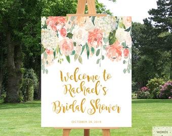 Floral Bridal Shower Decorations, Bridal Shower Signs Entrance, Shower Sign Gold, Printable, Bridal Shower Decor, Bridal Shower Print, PDF