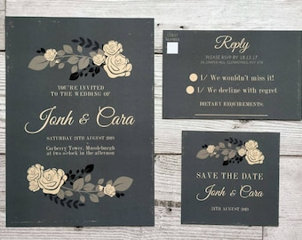 Vintage floral wedding stationery - wedding invitations - floral wedding invites
