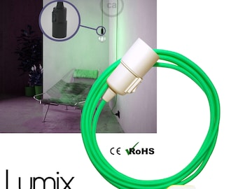 Pendant light, inspection lamp, socket lamp - Textile cable with bakelite sleeve and integrated switch - socket E27 without bulb-ref LB2eco