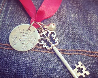 Santa's magic key, hand stamped magic key, Christmas gift