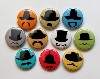 Hats and Mustaches Set of 10 - Pinback Buttons Badges 1 inch - Flatbacks or Magnets