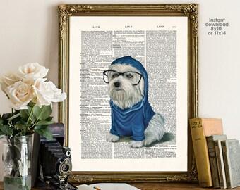 Hipster dog decor - home decor - dog Poster -  Wall art, Poster Dictionary art, Dictionary Art - Print Wall Decor, Nursery Wall Art