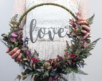 Maker of beautiful light up letters and wedding by thewhitebulb custom floral hoop wreath rustic wedding bouquet artificial door wreath boho wedding decorations junglespirit Gallery