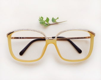 SAPHIRA Optyl frame NEW / Vintage creamy yellow and white eyeglasses / dead-stock square shape ladies sunglasses / 80s women's eyewear