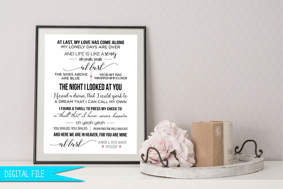 Wedding Song Gift First Dance Sign Personalized Anniversary