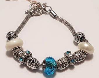 Bracelet, silver plated bracelet, big bead bracelet, beaded bracelet, toggle bracelet