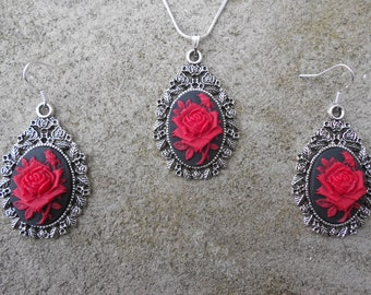 """Stunning 2 Piece Set- Red Rose on a Black Background Cameo Necklace and Earrings.925 plated 22"""" Chain--- Great Quality"""