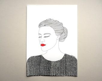 introvert girl, introvert woman, line art, original art, knitting woman, knitting art, original illustration, dream girl, knitting drawing
