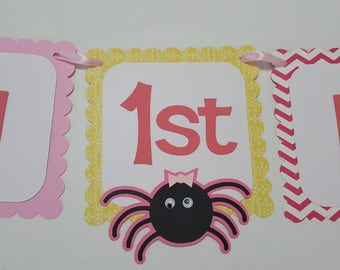 Itsy Bitsy Spider Birthday Banner Party Set Girl or Boy customizable rain spider sun water spout