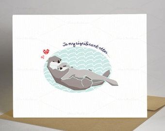 My Significant Otter Printable Card | Digital File | Fits A4/US Letter size paper | 300dpi PDF | Otters in Love | Valentine