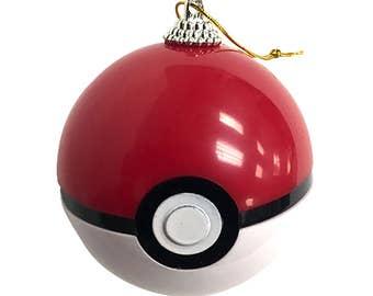 Pokemon Pokeball Ornament Christmas Tree Real Working Toy Prop Opens Trainer Poke Ball Ash Ketchum Pikachu Original Go Red Gift High Quality