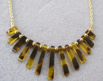 Tortoise Fan Necklace Gold Tone Chain Handmade Necklace Jewelry