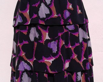 Romantic Heart Printed Tiered Midi Skirt ∞ ∞ One of a Kind ∞ Upcycled ∞ Eco-Fashion ∞