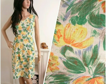 Vintage 1950s 60s Green Yellow Painted Floral Shift Wiggle Dress / UK 10 / EU 38 / US 6