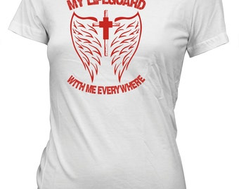 Aprojes My Lifeguard With Me Everywhere Jesus God Faith Tee Christian T-Shirt for Juniors